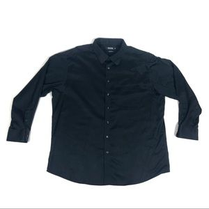 Murano Mens Luxury Black Liquid Cotton Dress Shirt